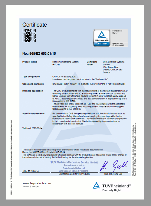 ISO 26262 Automotive Safety Integrity Level (ASIL) D certificate