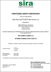 QNX Neutrino Safe Kernel functional safety certificate